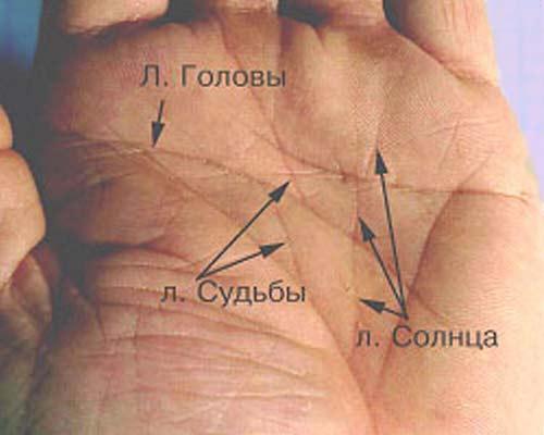 Линия солнца на вашей руке