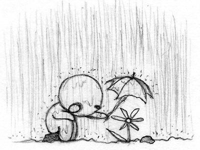 Мальчик закрывает зонтиком цветок
