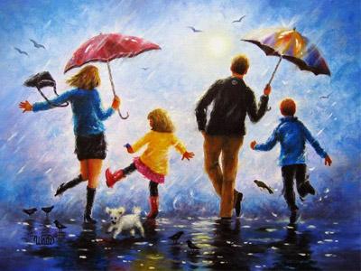 Семья танцует под дождем