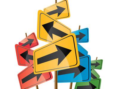 Много знаков, указывающих разные направления