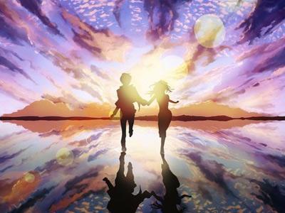 Девушка и парень бегут, взявшись за руки